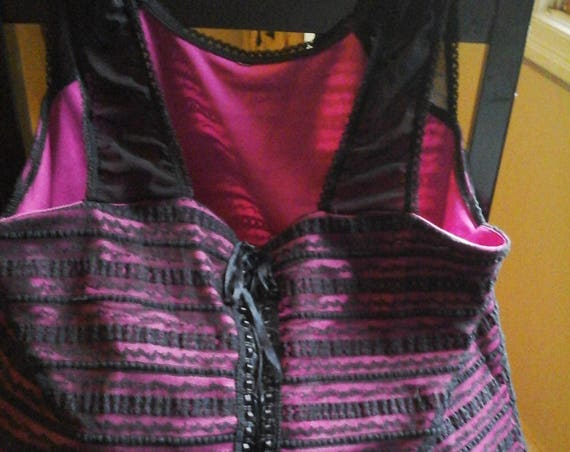 Corset Hand Bag in Pink and Black, Re-purposed Corset to a Handbag,  Recycled, Corset, #CorsetPurse, #OOAKgift, One-of-a-kind Corset Handbag