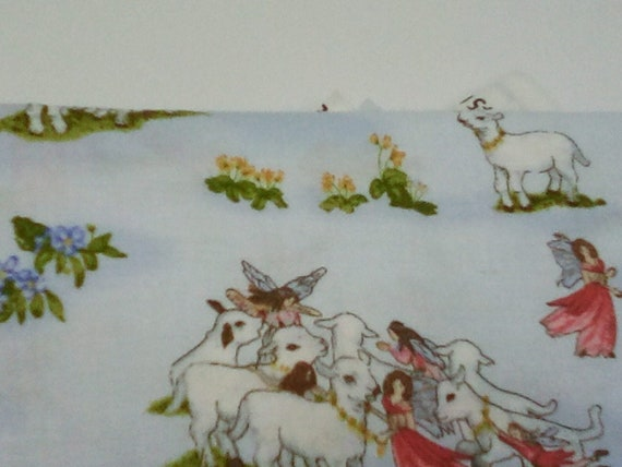 2 Yards Cotton Novelty Fabric,  Sheep Print Material,  Children's Theme Fabric, Religious Material