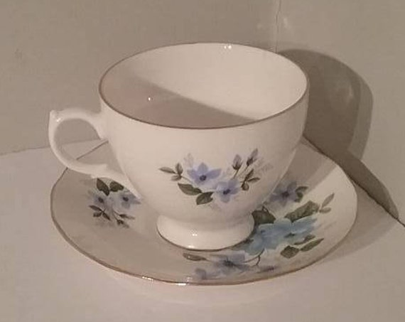 Vintage China Cup and Saucer, Queen Anne Cup and Saucer, Vintage Queen Anne Cup and Saucer, Vintage Queen Anne China, Blue Floral Queen Anne