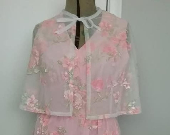 1960's Vintage Bridesmaid Dress, with Caplet, Chiffon Pink
