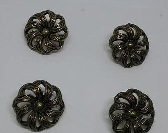 Set of 4 Vintage, Antiqued Floral Filigree Buttons,