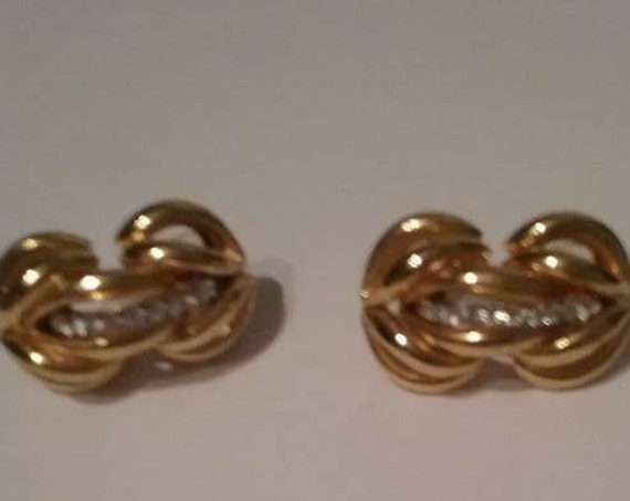 Retro Open Triple Knotted Gold Tone Earrings, Love Knots Pierced Earrings, Golden and Rhinestone Infinity Knot Earrings, #Retroinfinityknot