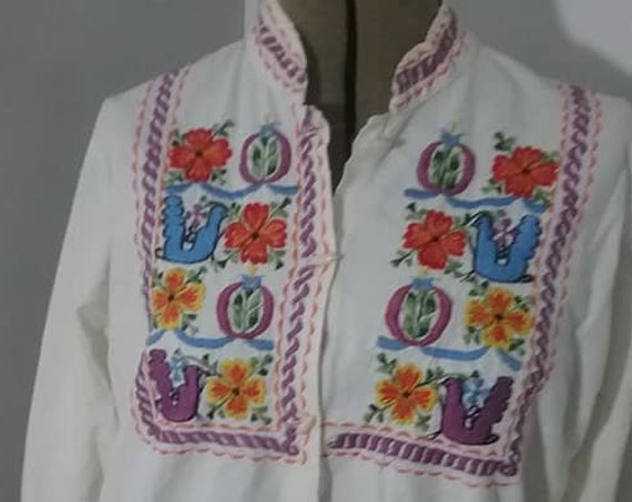 Vintage Boho Embroidered Cotton Blouse, Size Small