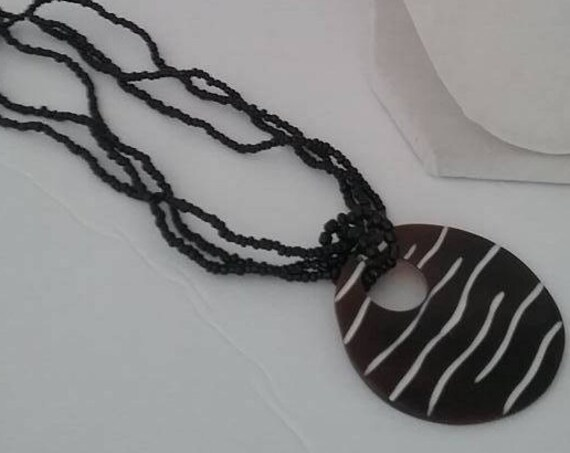 Lucite brown/black Circle Pendant with Zebra stripe, Zebra Look Pendant Choker, Seed Bead and Lucite Pendant Choker, Zebra Look Pendant