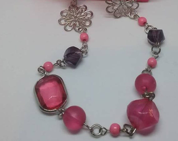 Pink Bead and Chain Necklace,