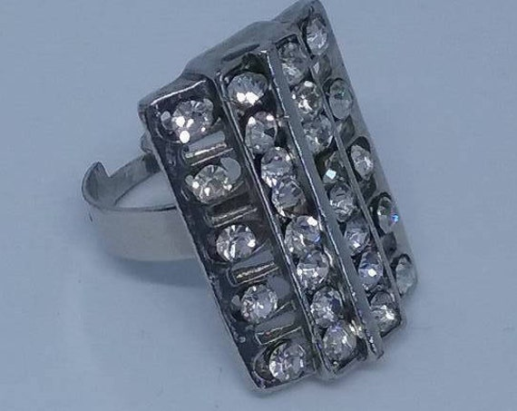 Rhinestone Cocktail Ring, Rectangular