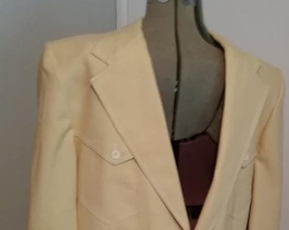 Men's Vintage Sports Jacket, Men's Sports Jacket Johnny Carson, Vintage Johnny Carson Sports Jacket, Men's Yellow Johnny Carson Sport Jacket