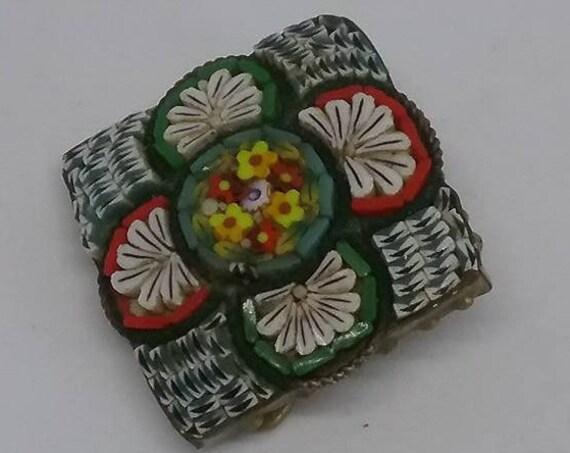 Victorian Micro Mosaic Brooch, Italian Glass