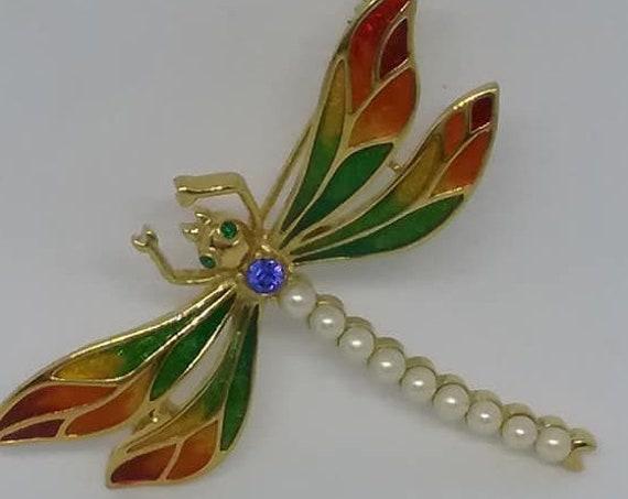 Vintage Carucci Brooch, Carucci Signed Vintage Brooch, Dragonfly Brooch, Signed Dragonfly Brooch, Signed Vintage Brooch, Dragonfly pin