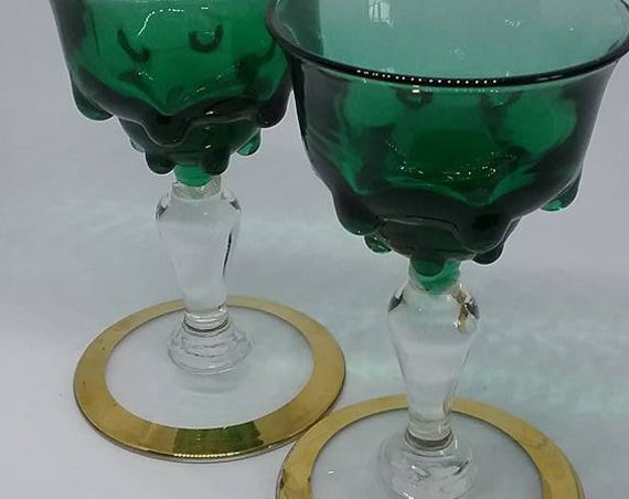 Vintage Sherry Glasses, Stemmed Green Glass Sippers