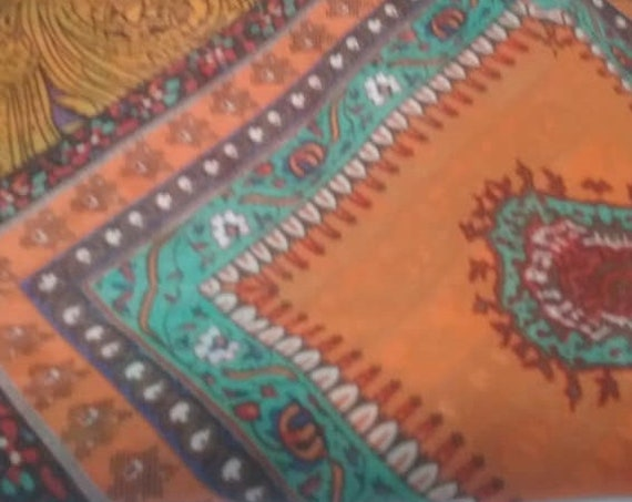 2 Yards Chiffon Material, Turquoise and Orange Patchwork, Soft Georgette, Boho Chic Fabric