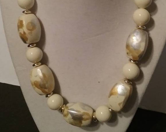 Vintage Ceramic Beaded Necklace,
