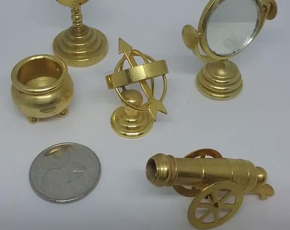 Vintage Brass Miniatures, Canon, Globe Collectibles