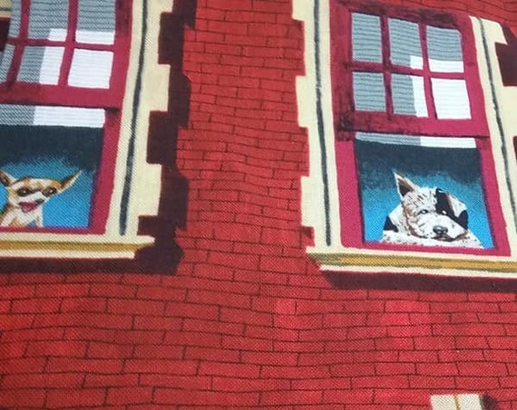 4 Yards Novelty Cotton Material, Dogs in Apartment Windows Fabric