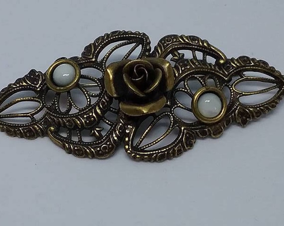 Vintage Rose and Filigree Brooch