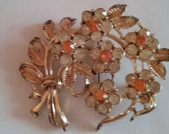 Vintage Rhinestone  Floral Brooch
