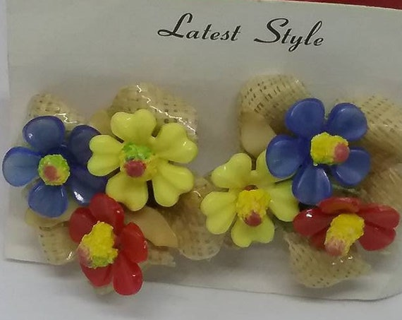 Vintage Lucite  Clip-on Earrings, Acrylic Retro Floral Fruit Salad Style
