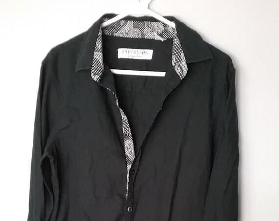 Vintage John Lennon English Laundry Shirt, Black John Lennon Dress Shirt, Black John Lennon Dress Shirt by English Laundry, John Lennon