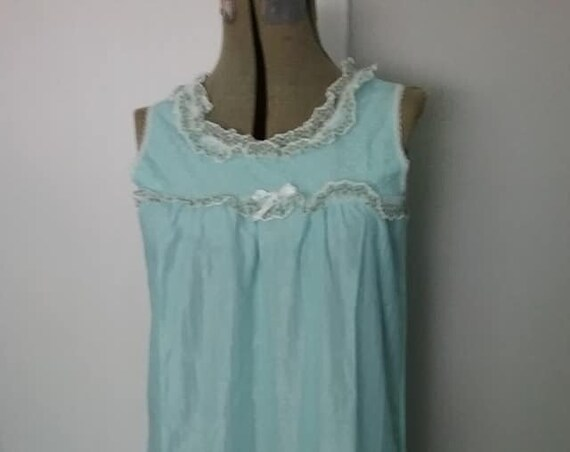Vintage Blue Nylon Nightgown, Lace Trimmed