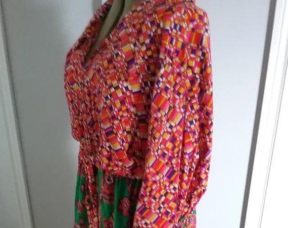 Trendy Plus Size Vintage Dress, Vintage 2XL Boho Dress, Vintage Trendy Plus Size Boho Dress, Geometric Colorful Hippie Dress, Handmade Dress
