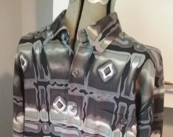 Men's Vintage Disco Shirt, Baron's Geometric Design