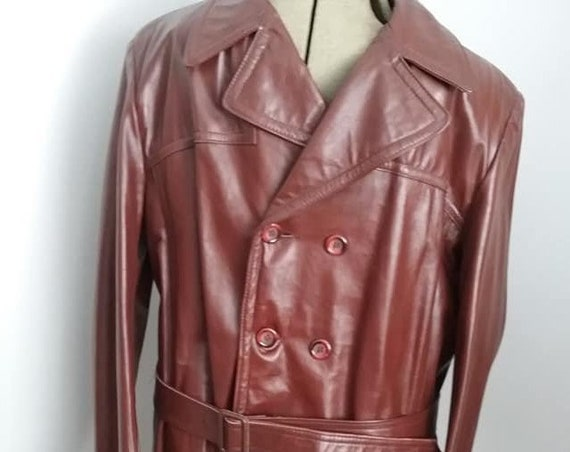 Vintage 70's Men's Brown Leather Coat