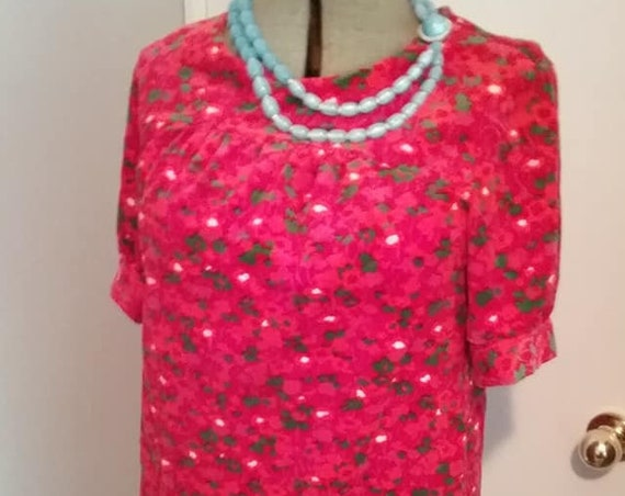 1970's Vintage Red Velour Mini Dress, pink floral
