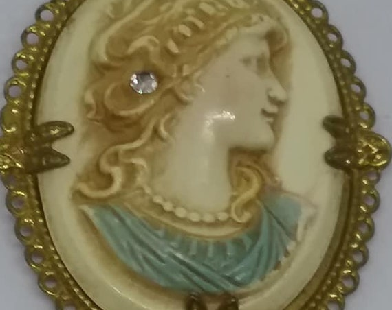 Vintage Celluloid Cameo Brooch, With Rhinestone, Brass Scroll Setting