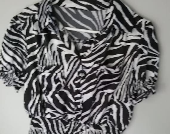 Vintage Animal Print Blouse, Cropped and Ruched Blouse, Zebra