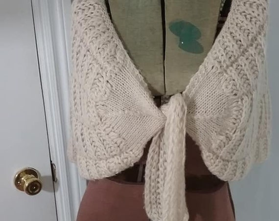 Chunky Knit Ivory Shrug, Front Tie Stole, Shawl