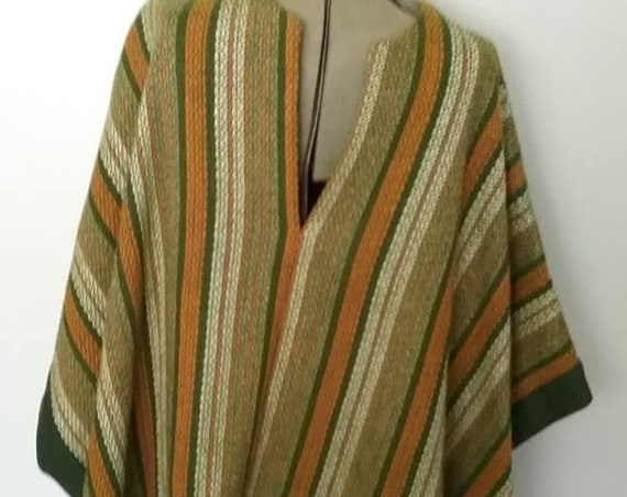 Vintage Woven Festival Type Poncho, Unisex, One Size