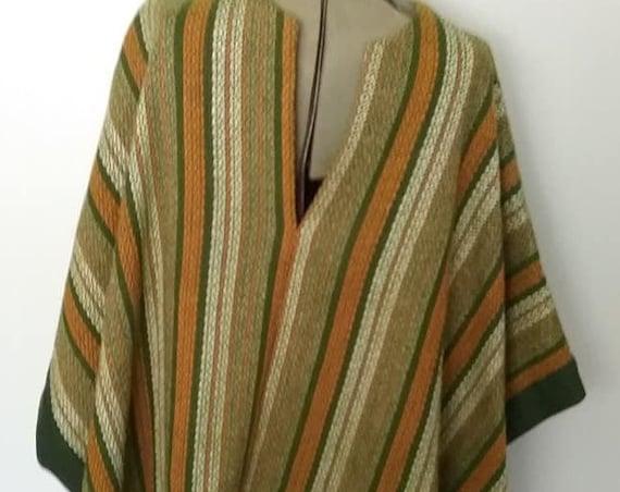Vintage Woven Festival Type Poncho, Unisex Woven Poncho, One Size, Boho or Hippy Poncho