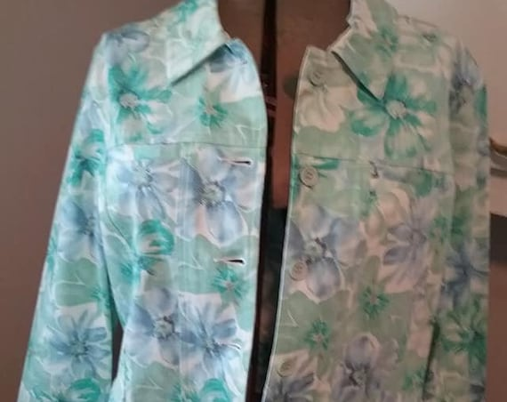 Vintage Floral Jacket, Women's Floral Jean Style Jacket, Women's Blue and Green Floral Casual Jacket, Authentic Shaver Lake Casuals Jacket