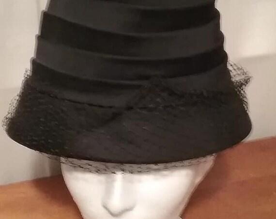 Debette of New York Vintage Hat, Vintage Bucket Hat, Vintage Pleated Bucket Hat with Netting, Black Satiny Vintage Hat with Netting
