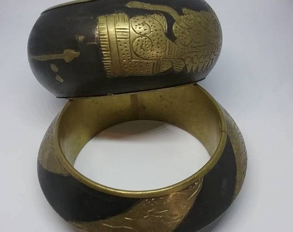 Vintage Brass Egyptian Style Cuffs, Chunky Bangles