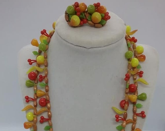 Lucite Fruit Salad Double Strand Necklace and Cluster Earrings, Made in Germany