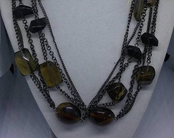 Vintage Black Glass Bead Necklace, Three Strand