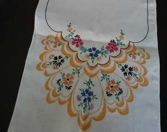 Vintage Embroidered Table Runners, Set of Two