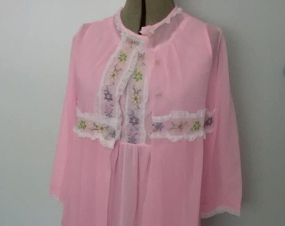 Vintage Nightie and Peignoir, Pink Sheer Chiffon