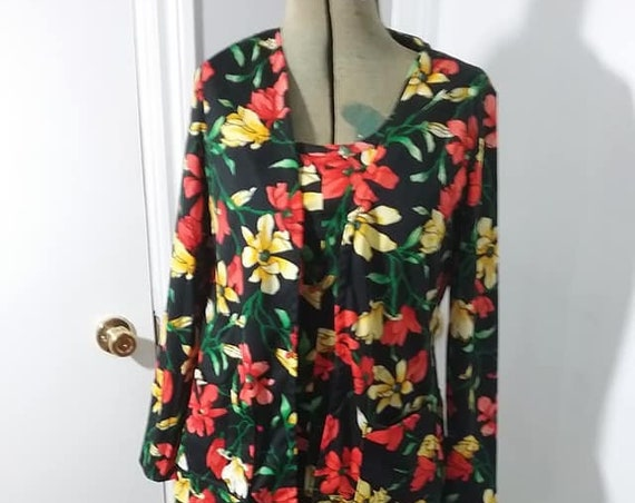 70's Hawaiian Floral 3 Piece Set, Tank Top, Skirt, Jacket