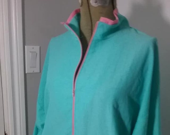 80's Windbreaker, Pink and Turquoise Sports Outerwear Jacket, Zip-up Shell