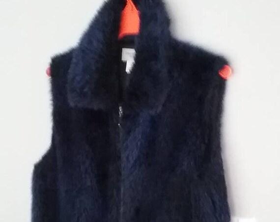 Women's Vintage Faux Fur Vest, Blue