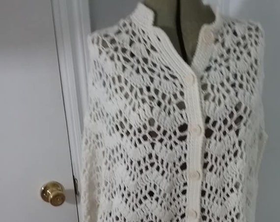 Ivory Knit Button Front Poncho, Cape, Arm Slits, Tassels