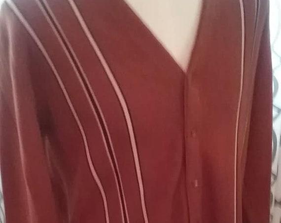 Vintage Men's Cardigan, Brown Acrylic Cardigan Sweater, Size XL