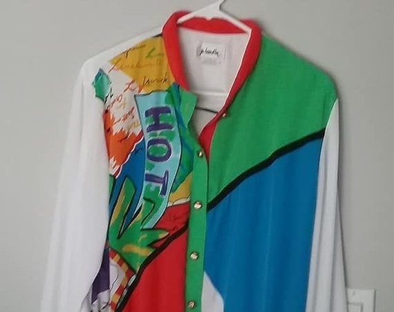 Vintage Jo Hardin Bright Color Block Blouse, Abstract Shirt Jacket, Funky Retro