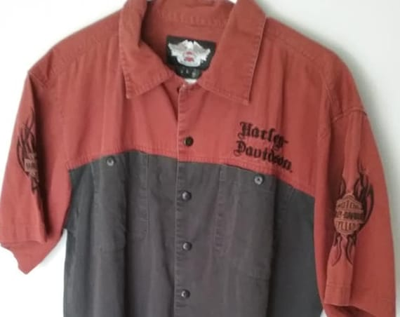 Vintage Harley Davidson Mechanic Shirt, Vintage Harley Davidson Short Sleeve Biker Shirt, Harley Davidson Black and Rust Shirt, HD Top