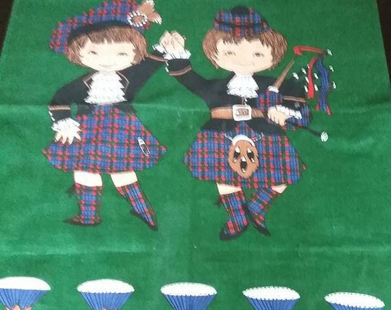 Scottish Linen Tea Towel, Highland Dancers Fabric Posterl