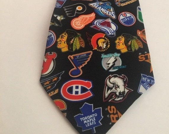 National Hockey League 1990's Team Logos Men's Necktie