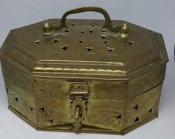 Vintage Brass Cricket Box, Handmade in India