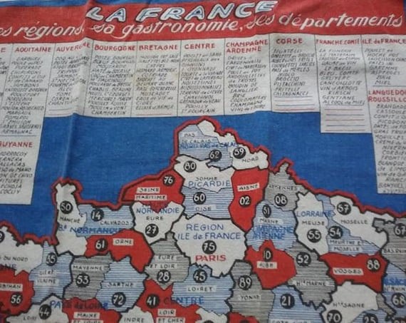 60's French Tea Towel, Fabric Wall Art of France, Regions and Food